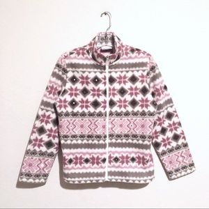 Alfred Dunner Pink and Soft Gray Fleece Zip Up!